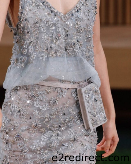 Chanel Grey Embellished Belt Bag - Chanel Spring Summer 2016 Haute Couture Pouch
