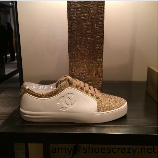 Chanel WhiteBeigeGold CalfskinTweed Sneakers - Chanel Sneakers From Pre Fall 2017 Collection