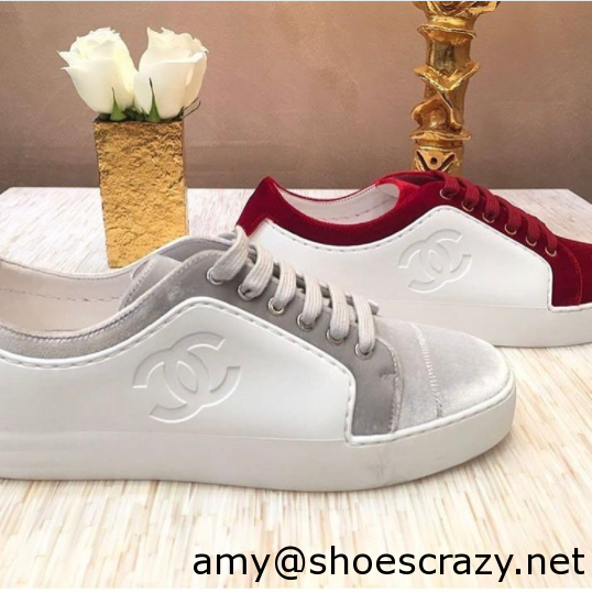Chanel WhiteGray and Red CalfskinVelvet Sneakers - Chanel Sneakers From Pre Fall 2017 Collection