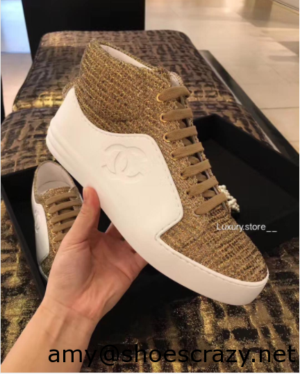Chanel WhiteRed CalfskinVelvet High Cut Sneakers - Chanel Sneakers From Pre Fall 2017 Collection