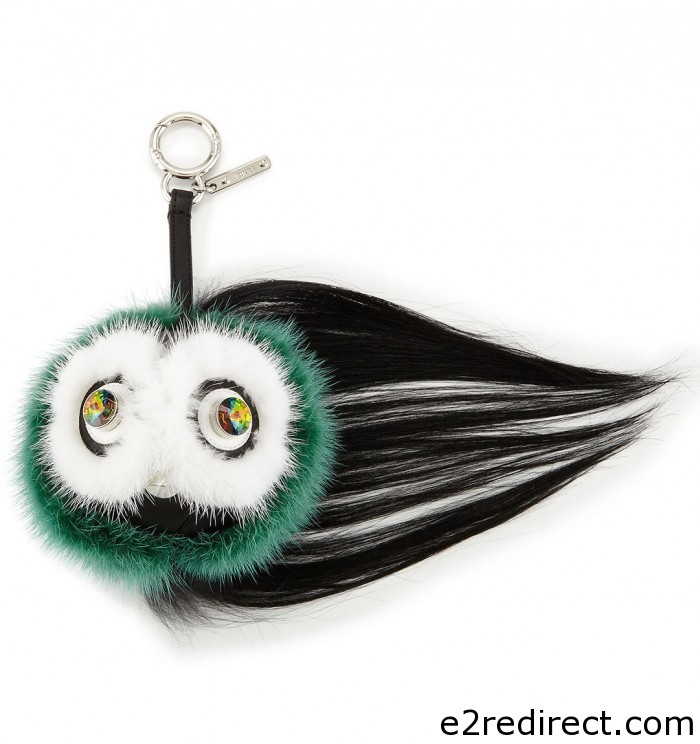 Fendi Green Multicolor Monster Fur Charm with Beak 700x744 - New Fendi Bag Bug Charms from Fall 2015 and Resort 2016