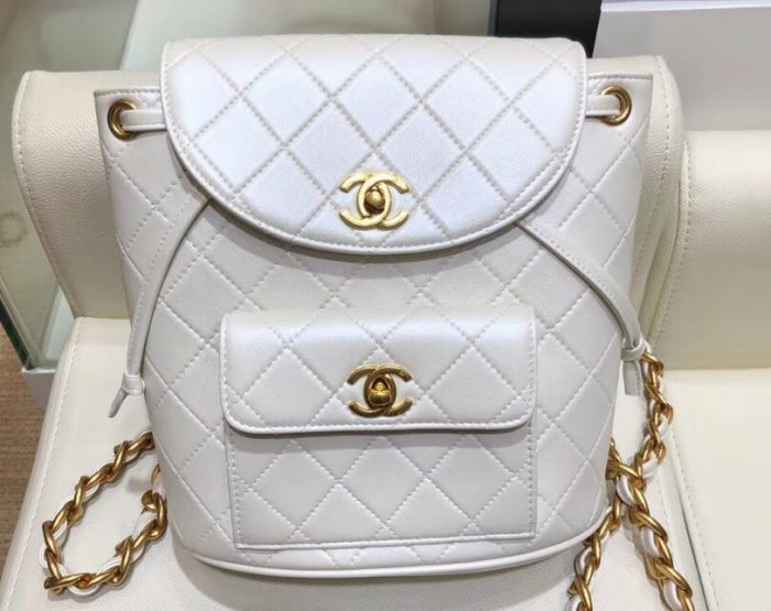 IMG 1001 cr 1 700x555 - Chanel Quilted CC Leather Vintage Backpack Bag