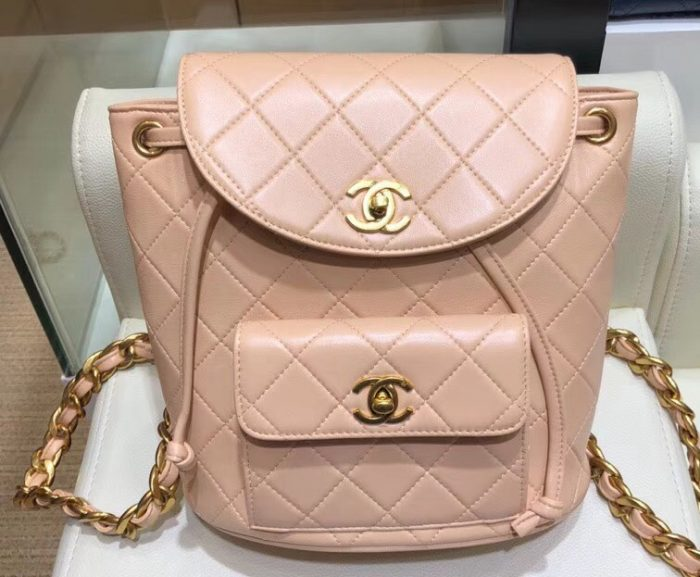 IMG 1009 cr 1 700x577 - Chanel Quilted CC Leather Vintage Backpack Bag
