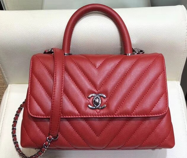 IMG 1206 cr 1 - Chanel Chevron Grained Calfskin Small Flap Bag with Top Handle A92990 2018