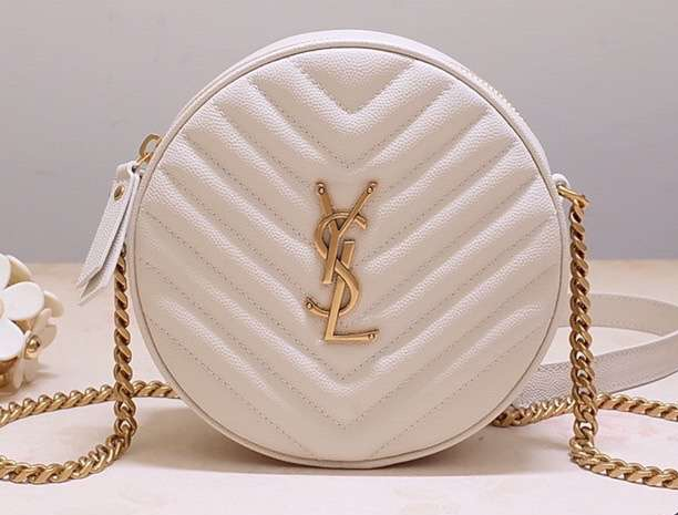 IMG 200110a 284 cr - Saint Laurent Vinyle Round Camera Bag In Chevron-quilted Grained Leather 610436