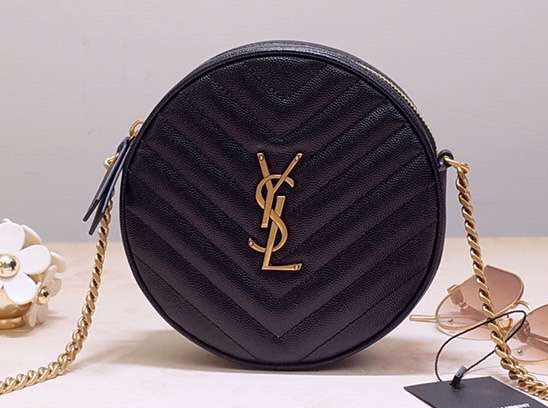 IMG 200110a 293 cr - Saint Laurent Vinyle Round Camera Bag In Chevron-quilted Grained Leather 610436