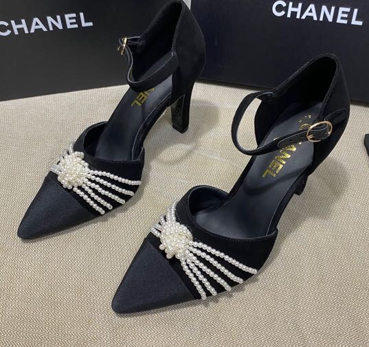 IMG 200922yy3 12 cr - Chanel Heel 7.5cm Pearl Bow Satin and Grosgrain Pumps with Straps G36466 2020