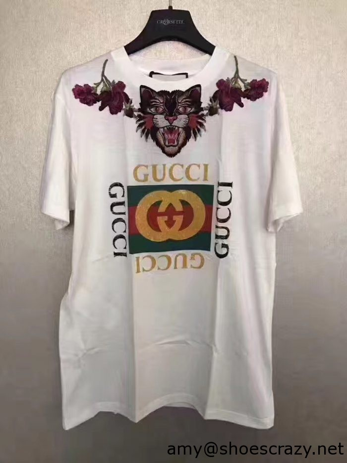 """IMG 2525 700x933 - Gucci Cotton Angry Cat Embroidered """"LOVED"""" Back T-shirt 457094 2017"""