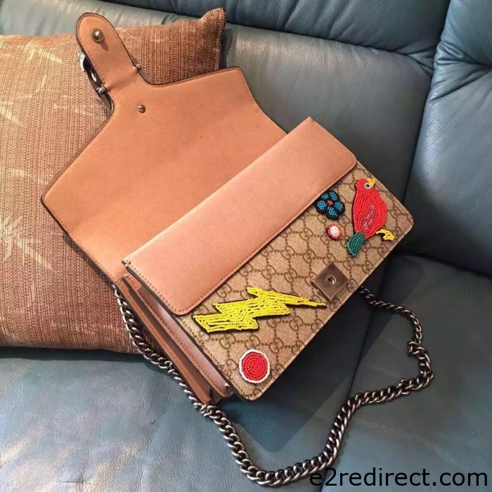 IMG 34211 700x700 - Gucci Dionysus GG Supreme Bird and Butterfly Beaded Shoulder Bag 400249 2016