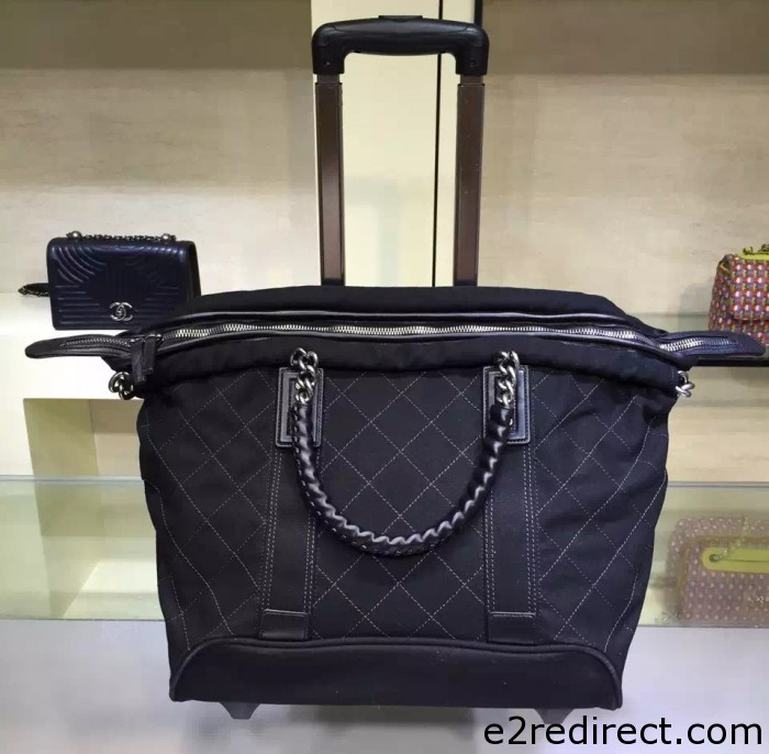 IMG 4109 cr 700x686 - Chanel Canvas Trolley Luggage Bag A93045 Black 2015/2016
