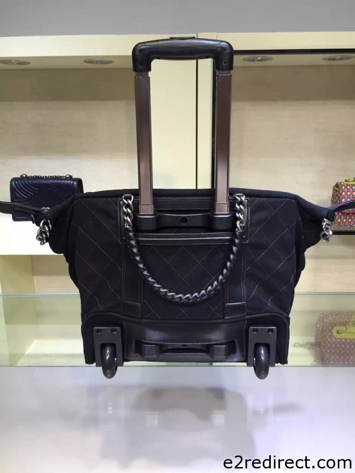 IMG 4113 700x933 - Chanel Canvas Trolley Luggage Bag A93045 Black 2015/2016