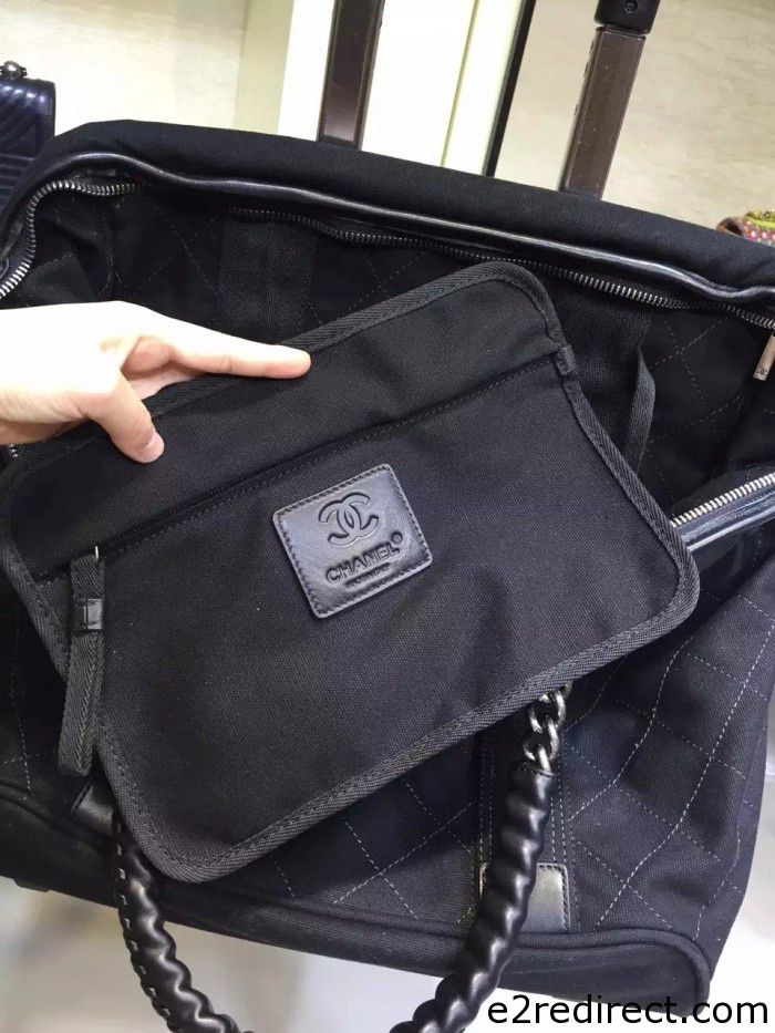 IMG 4117 700x933 - Chanel Canvas Trolley Luggage Bag A93045 Black 2015/2016