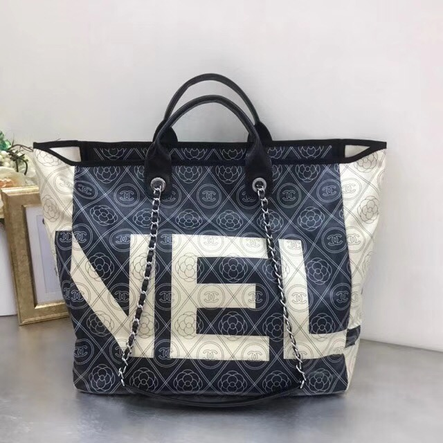 IMG 5370 - Chanel Printed Canvas Maxi Chanel Large Shopping Bag A57161 2018