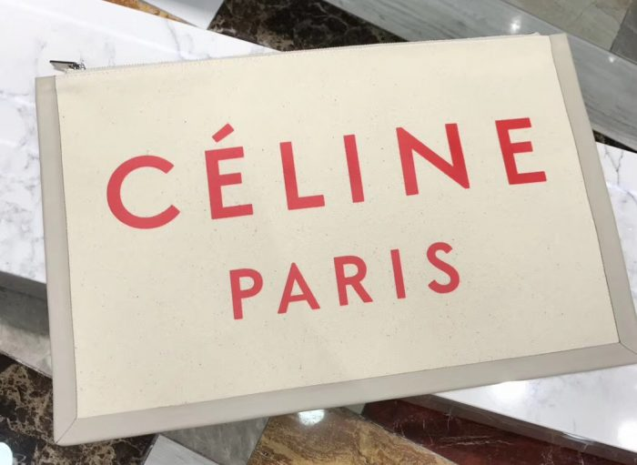 IMG 6287 cr 2 700x511 - Celine Logo Made In Large Clutch Pouch Bag in Textile 2018