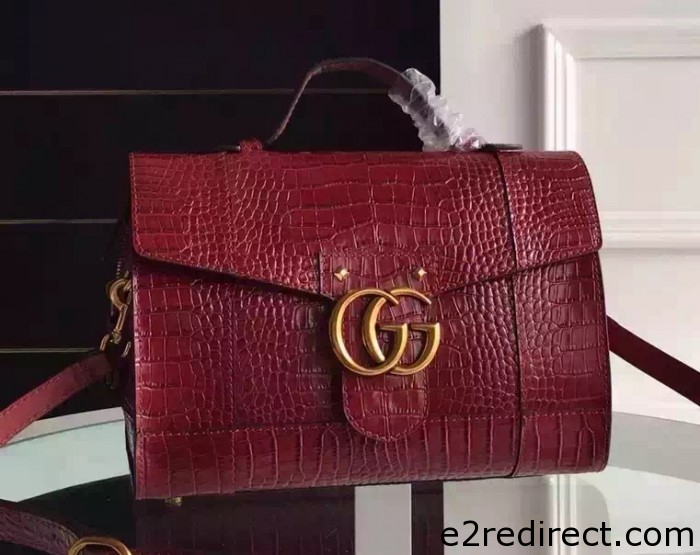 IMG 6394 cr 700x555 - Gucci Croco Pattern GG Marmont Leather Top Handle Bag 421890 2016