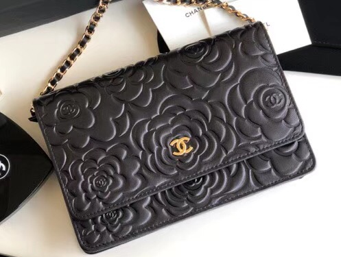 IMG 6408 cr 1 - Chanel Lambskin Camellia Wallet On Chain WOC Bag