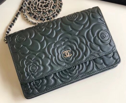 IMG 6425 cr 1 - Chanel Lambskin Camellia Wallet On Chain WOC Bag