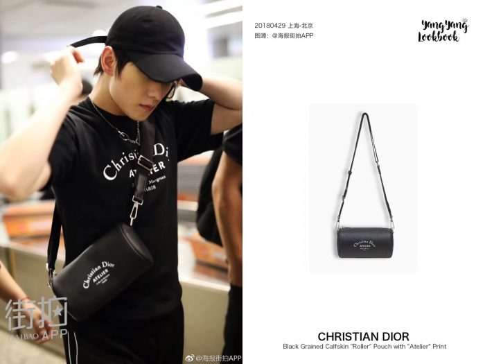 IMG 7050 700x525 - Dior Christian Dior Atelier Print Roller Pouch Shoulder Bag In Grained Calfskin 2018