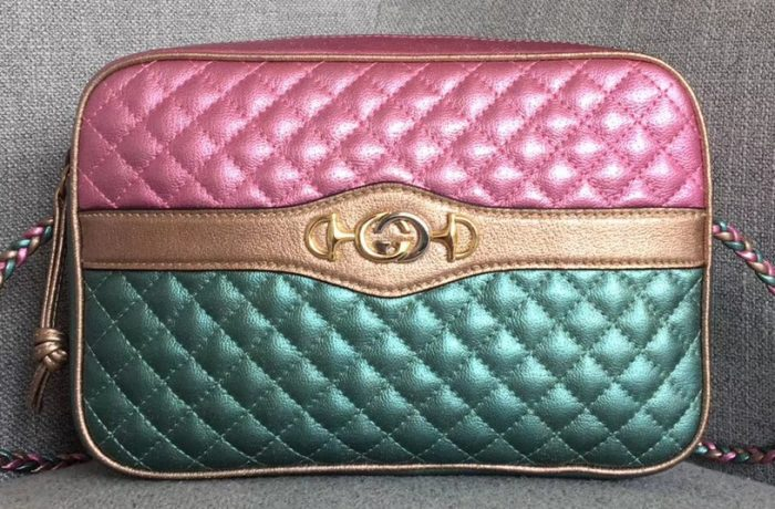 a03254233057 Gucci Laminated Leather Small Shoulder Bag 541061 2018. Size:25×16.5×5.5cm.  Colors:Green/Red,Silver/Red,Pink/Blue