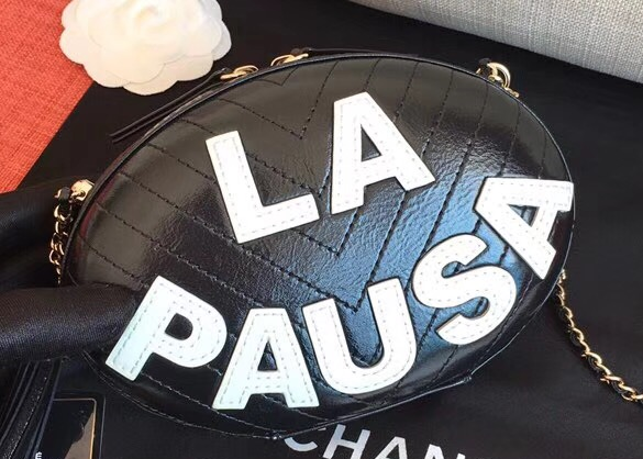 IMG 90115a 10 cr - Chanel Chevron Embroidered La Pausa Evening Bag AS0204 2019