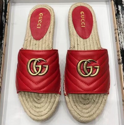 IMG 90325shoes 74 cr - Gucci Leather Espadrilles Slides Sandals With Double G 573028 2019