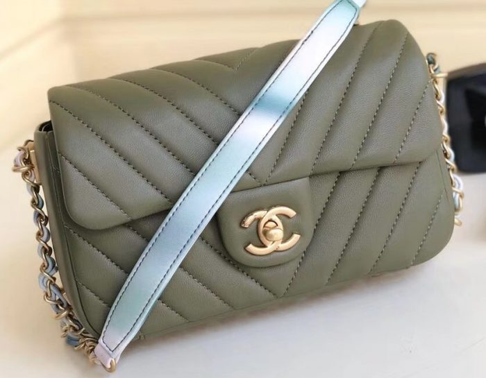 IMG 90523a 2 cr 700x545 - Chanel Chevron Small Classic Flap Bag with Rainbow Strap Around 2019