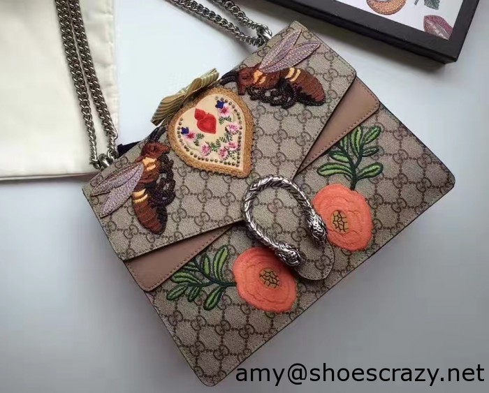 IMG 9582 cr 700x563 - Gucci Bee and Flowers Embroidered Dionysus GG Supreme Medium Bag 400235 2016