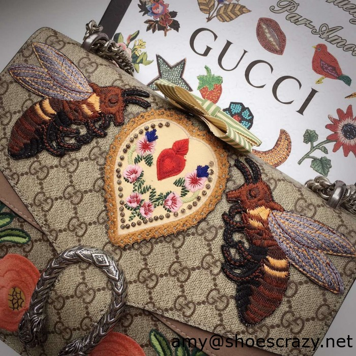 IMG 9584 700x700 - Gucci Bee and Flowers Embroidered Dionysus GG Supreme Medium Bag 400235 2016