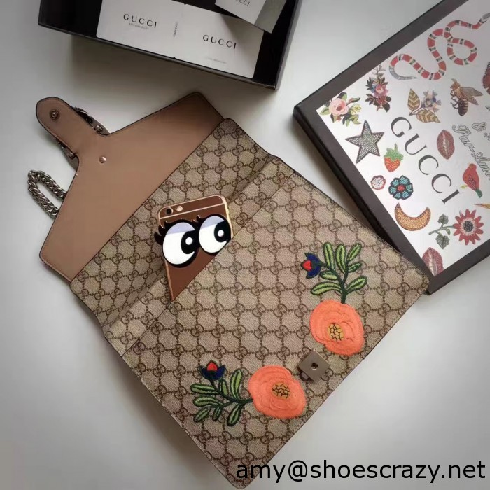 IMG 9592 700x700 - Gucci Bee and Flowers Embroidered Dionysus GG Supreme Medium Bag 400235 2016