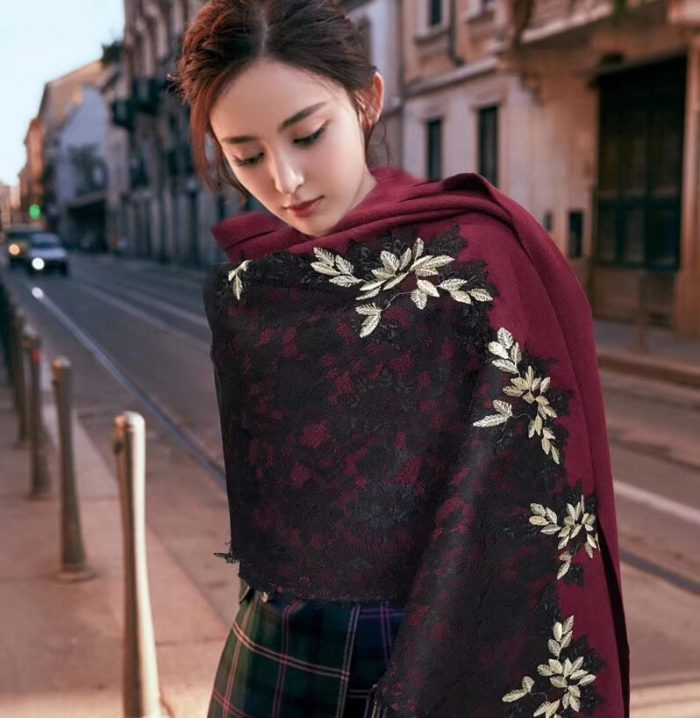 IMG 9788 700x718 - Valentino Lace Cashmere Scarf 2018