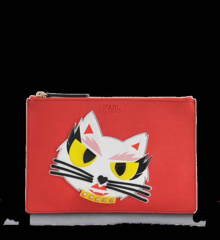 Karl Lagerfeld Red Monster Choupette Coated Canvas Pouch 700x764 - Karl Lagerfeld Monster Choupette Collection